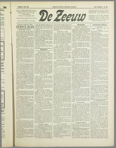 De Zeeuw. Christelijk-historisch nieuwsblad voor Zeeland 1934-05-08
