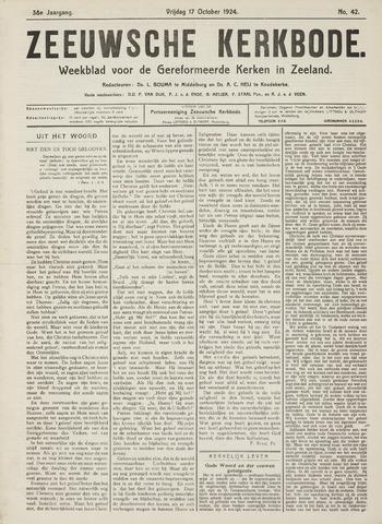 Zeeuwsche kerkbode, weekblad gewijd aan de belangen der gereformeerde kerken/ Zeeuwsch kerkblad 1924-10-17