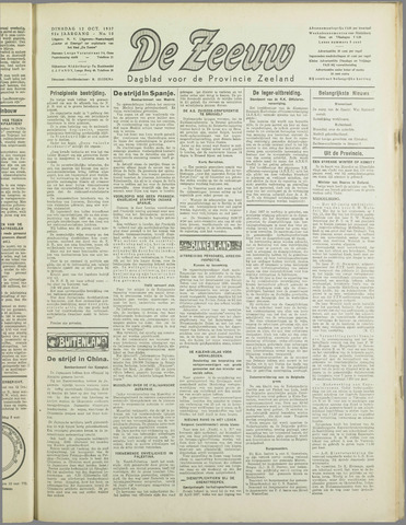 De Zeeuw. Christelijk-historisch nieuwsblad voor Zeeland 1937-10-12