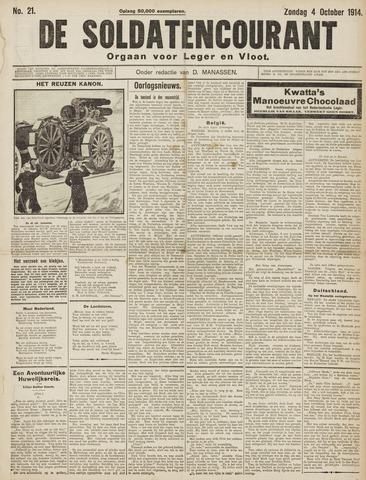 De Soldatencourant. Orgaan voor Leger en Vloot 1914-10-04