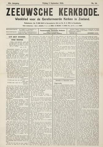 Zeeuwsche kerkbode, weekblad gewijd aan de belangen der gereformeerde kerken/ Zeeuwsch kerkblad 1926-09-03