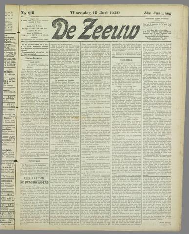 De Zeeuw. Christelijk-historisch nieuwsblad voor Zeeland 1920-06-16