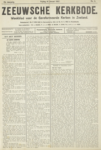 Zeeuwsche kerkbode, weekblad gewijd aan de belangen der gereformeerde kerken/ Zeeuwsch kerkblad 1927-01-14