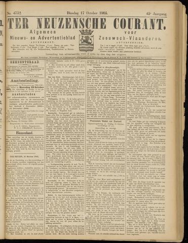 Ter Neuzensche Courant. Algemeen Nieuws- en Advertentieblad voor Zeeuwsch-Vlaanderen / Neuzensche Courant ... (idem) / (Algemeen) nieuws en advertentieblad voor Zeeuwsch-Vlaanderen 1905-10-17