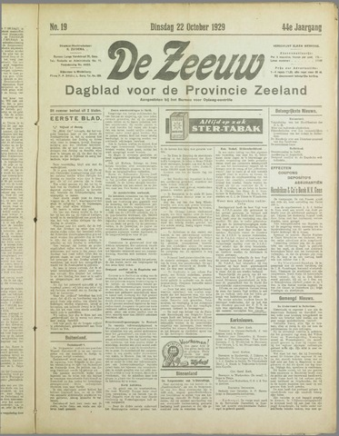De Zeeuw. Christelijk-historisch nieuwsblad voor Zeeland 1929-10-22