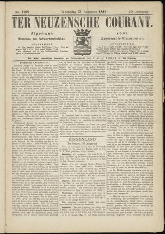 Ter Neuzensche Courant. Algemeen Nieuws- en Advertentieblad voor Zeeuwsch-Vlaanderen / Neuzensche Courant ... (idem) / (Algemeen) nieuws en advertentieblad voor Zeeuwsch-Vlaanderen 1881-08-31