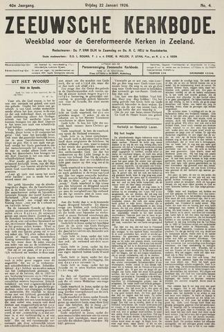 Zeeuwsche kerkbode, weekblad gewijd aan de belangen der gereformeerde kerken/ Zeeuwsch kerkblad 1926-01-22