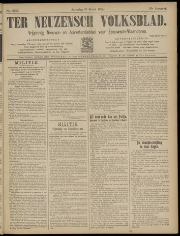 Ter Neuzensch Volksblad. Vrijzinnig nieuws- en advertentieblad voor Zeeuwsch- Vlaanderen / Zeeuwsch Nieuwsblad. Nieuws- en advertentieblad voor Zeeland 1915-03-13